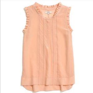 Silk peach Madewell Ruffle sleeveless blouse M